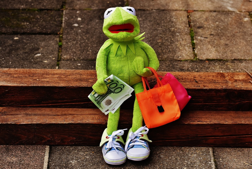 Kermit belanja sepatu, shopping, savings, money
